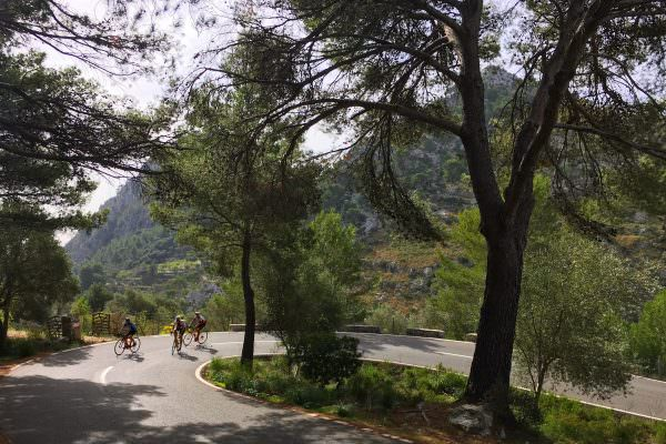 Cycling Group Going Up Hill in Mallorca
