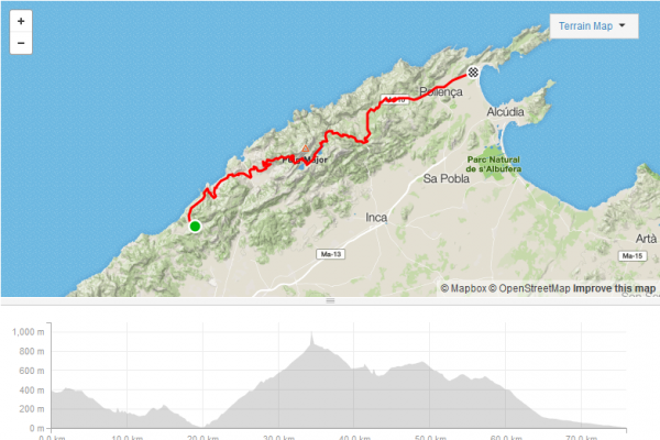 Cycling route in Majorca used for Sunvelo cycling holidays